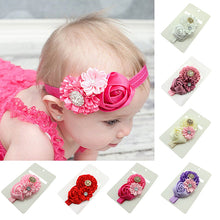 Load image into Gallery viewer, Cute Kids Baby Girls Rhinestone Headband Ribbon Rose Flower Hair Band Headwear - shopbabyitems