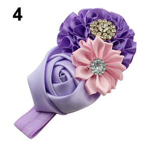 Cute Kids Baby Girls Rhinestone Headband Ribbon Rose Flower Hair Band Headwear - shopbabyitems