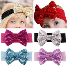Load image into Gallery viewer, Baby Infant Girl Hair Band Sequined Bow Headband Bowknot Hair Accessory Hairband - shopbabyitems