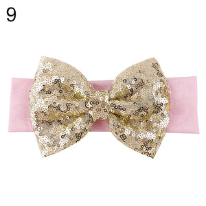 Baby Infant Girl Hair Band Sequined Bow Headband Bowknot Hair Accessory Hairband - shopbabyitems