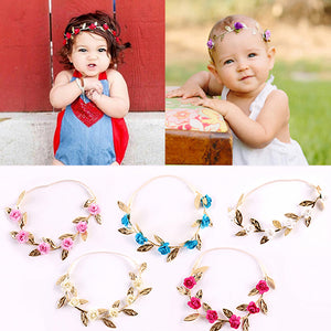 Baby Girls' Trendy Sweet Rose Flowers Leaves Elastic Hair Band Garland Headband - shopbabyitems