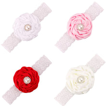Load image into Gallery viewer, Baby Girl Lace Rhinestone Faux Pearl Headband Flower Decor Hair Band Headwear - shopbabyitems