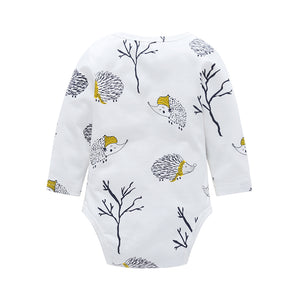 Cute Baby Unisex Hedgehog Tree Long Sleeve O Neck Romper Cotton Autumn Jumpsuit - shopbabyitems