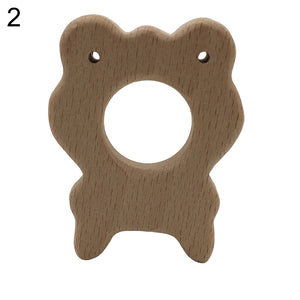 Baby Infant Wooden Cartoon Frog Elephant Rabbit Sun Teether Toddler Chewing Toy - shopbabyitems