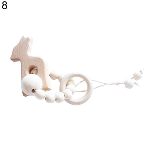 Cartoon Elephant Star Heart Beech Wood Infant Baby Teether Molar Rod Funny Toy - shopbabyitems
