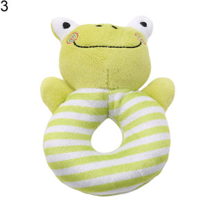 Infant Baby Cartoon Rabbit Frog Hand Bell Ring Rattle Toy Soft Animal Plush Doll - shopbabyitems