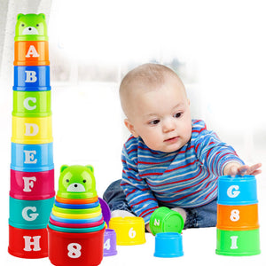 9Pcs Bear Figure Letters Folding Stack Cup Tower Baby Kids Early Educational Toy - shopbabyitems