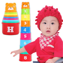 Load image into Gallery viewer, 9Pcs Bear Figure Letters Folding Stack Cup Tower Baby Kids Early Educational Toy - shopbabyitems