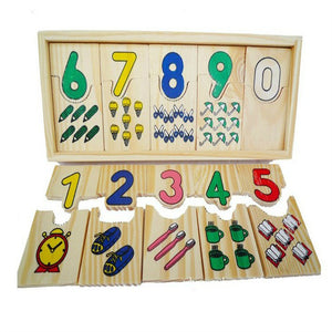 Wooden Colorful Number Shape Puzzle Plate Matching Game Educational Kids Toy - shopbabyitems