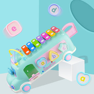 Lovely School Bus Baby Percussion Piano Beads Matching Blocks Educational Toy - shopbabyitems