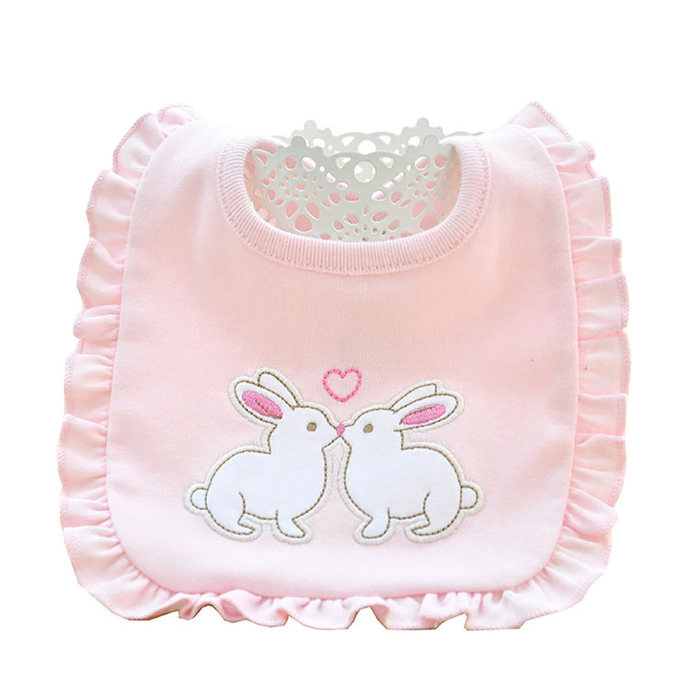 Lovely Girls' Carriage Duck Letter Rabbit Cotton Baby Snap Button Reversible Bib - shopbabyitems