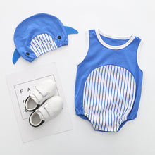 Load image into Gallery viewer, 2Pcs Cute Animal Fruit Sleeveless O-Neck Infant Baby Cotton Romper Jumpsuit Hat - shopbabyitems