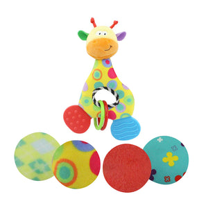 Baby Infant Teething Ring Soft Plush Hand Squeaker Giraffe Developmental Toy - shopbabyitems