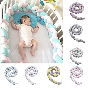 2m Braided Soft Crib Bumper Protector Newborn Baby Infant Bed Cushion Room Decor - shopbabyitems