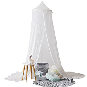 240cm Kids Baby Room Bed Dome Curtain Canopy Chiffon Tassel Hung Mosquito Net - shopbabyitems