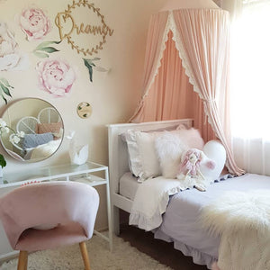 240cm Kids Baby Room Bed Curtain Pointed Dome Lace Chiffon Canopy Mosquito Net - shopbabyitems