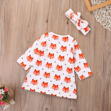 Load image into Gallery viewer, 2Pcs Newborn Baby Girls Cute Foxes Pattern Cotton Long Sleeve Dress Headband - shopbabyitems