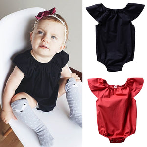 Infant Baby Girl One-Piece Babysuit Solid Color Short Sleeve Romper Jumpsuit - shopbabyitems
