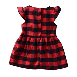 Toddler Dress Baby Girl Plaid Ruffled Sleeveless Outfits Princess Party Clothes - shopbabyitems