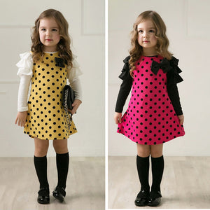 Spring Baby Girl Long Sleeve Polka Dot Bowknot Ruffle Mini Dress Kids Clothes - shopbabyitems