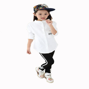 Spring Autumn Cotton White Blouse long sleeve Kids Solid Baby Girls Shirts - shopbabyitems