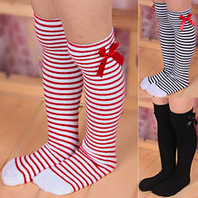 Load image into Gallery viewer, Girls Cotton Knee Length Socks Kids Children Bowknot Striped Winter Leg Warmers - shopbabyitems