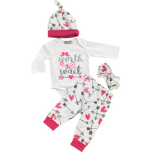 Load image into Gallery viewer, Baby Girls Fashion Letter Print Romper + Long Pants + Cap + Headband Outfit Set - shopbabyitems