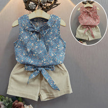 Load image into Gallery viewer, Baby Girl Clothes Floral Print Sleeveless Bowknot Top and Shorts Clothing Set - shopbabyitems