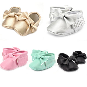 Toddler Infant Baby Girl Faux Leather Tassel Soft Bow Princess Prewalker Shoes - shopbabyitems