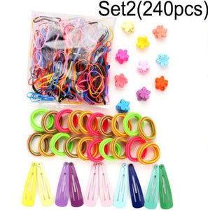 1Set Girls Cute Elastic Hair Bands Hairpins Flower Hair Claws Hair Clip Rubber Band Ponytail Holder - shopbabyitems