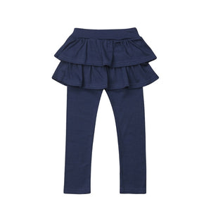 2-8Y Kids Girls Warm Cute Cake Culottes Leggings With Ruffle Tutu Skirt Pants Autumn Winter - shopbabyitems