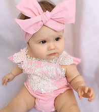 Load image into Gallery viewer, 2 PCS Newborn Infant Baby Girls sleeveless Rompers Lace Floral Jumpsuit Playsuit Outfits Sunsuit - shopbabyitems