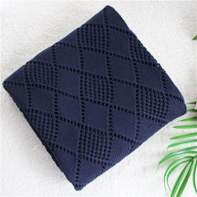 2 layers reversible super soft Cotton knitted blue star Baby Blanket - shopbabyitems
