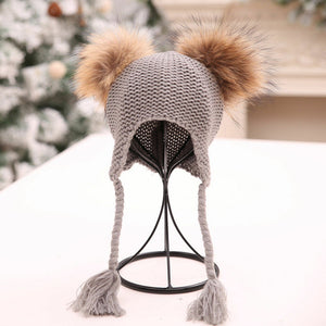 Baby Accessories Fashion Kids Baby Boy Girl Winter Warm Beanie Double Fur Pom - shopbabyitems