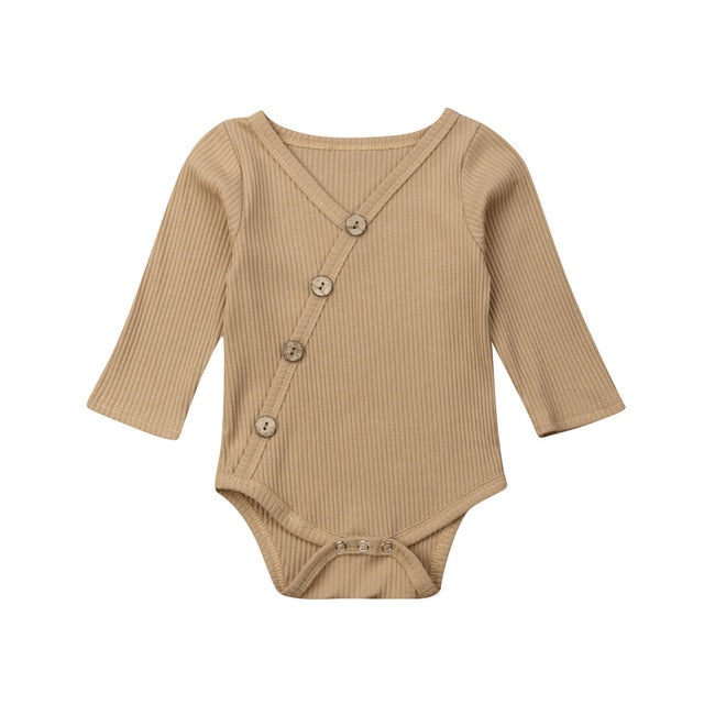Baby Spring Autumn Clothing Newborn Infant Baby Boy Girl Ribbed Jumpsuit - shopbabyitems
