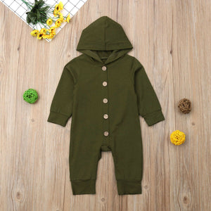 Children Spring Autumn Clothing Baby Kids Boys Girls Infant Hooded Solid Romper Jumpsuit - shopbabyitems