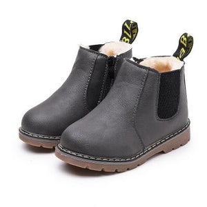 Leather Waterproof Leather Boots Warm Kids Snow Boots Girls Boys Rubber Boots Fashion Sneakers - shopbabyitems
