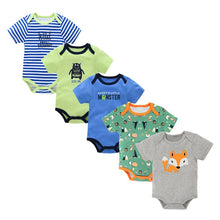 Load image into Gallery viewer, Newborn Bodysuit Cotton Baby Girl Boy Clothes Short Sleeve Outfit Cartoon body bebe menina 5Pcs/set body baby ropa de bebe - shopbabyitems