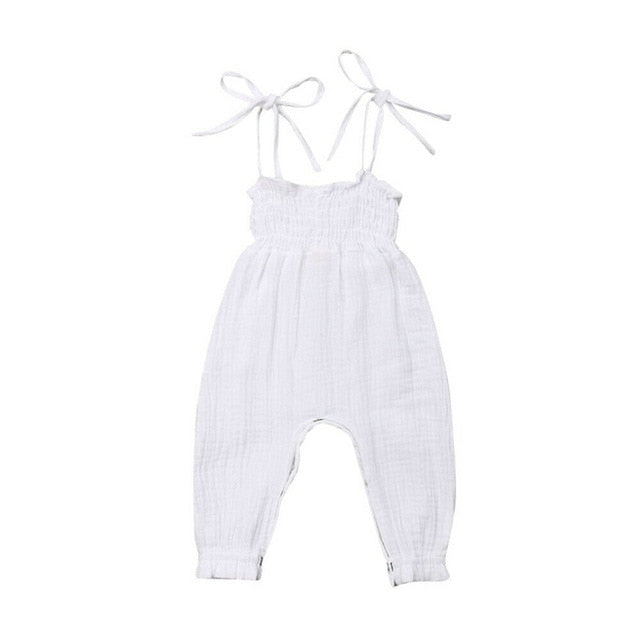 Summer Kids Toddler Baby Girls Sleeveless Bandage Rompers Jumpsuit - shopbabyitems