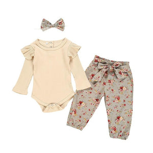 Baby Girls Outfits Clothes Romper Bodysuit+Flower Printed Shorts Set - shopbabyitems
