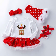 Load image into Gallery viewer, 2020 Baby Girl christmas Dress Cotton 1st Birthday Dress Bodysuit+Shoes+Socks+Headband 4pcs Sets Clothing - shopbabyitems