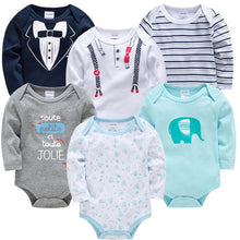 Load image into Gallery viewer, Baby Girls Clothes 6 pcs/lot Flower Printed Cotton Long Sleeve Girl Bodysuit 0-24 Months - shopbabyitems