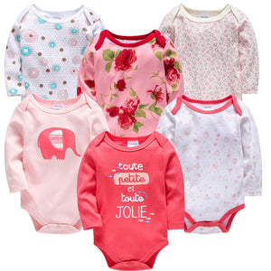 Baby Girls Clothes 6 pcs/lot Flower Printed Cotton Long Sleeve Girl Bodysuit 0-24 Months - shopbabyitems