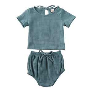 Baby Boy Girl Clothes Cotton&Linen Tops+Shorts Pants Solid 2pcs Short Sleeve Outfits Set - shopbabyitems