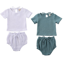 Load image into Gallery viewer, Baby Boy Girl Clothes Cotton&Linen Tops+Shorts Pants Solid 2pcs Short Sleeve Outfits Set - shopbabyitems