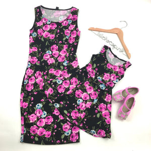 New Mother and Daughter Dress Summer Floral Sleeveless Women Dress Kids - shopbabyitems