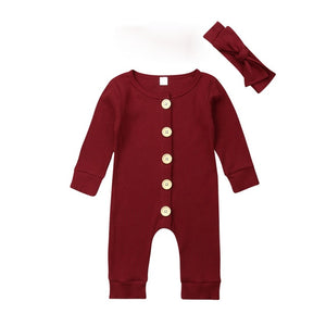 Newborn Baby Girl Boy Clothes Long Sleeve Knitted Romper + Headband Jumpsuit - shopbabyitems