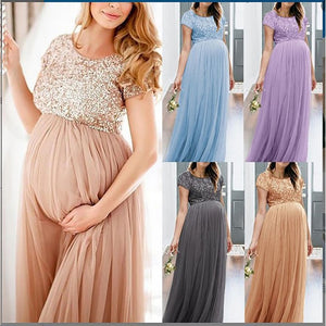 Summer Maternity Dresses For Photo Shoot 5 Colors Chiffon Solid Elegant Pregnancy Dress - shopbabyitems