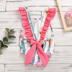 2020 Toddler Kids Baby Girls Ruffle Stripe Bikini Beach Summer Swimsuit - shopbabyitems