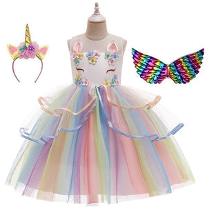 2020 Unicorn Girl Summer Dress For 4 6 8 10 Years Girls Clothing Kids Birthday Party Princess Costume Children Dresses - shopbabyitems